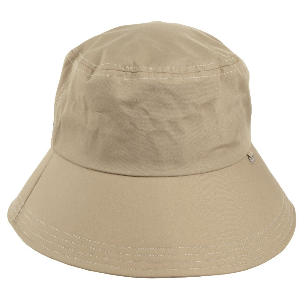 Women's Bow Rain Hat in Tan Front