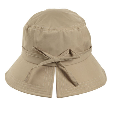 Women's Bow Rain Hat in Tan Back