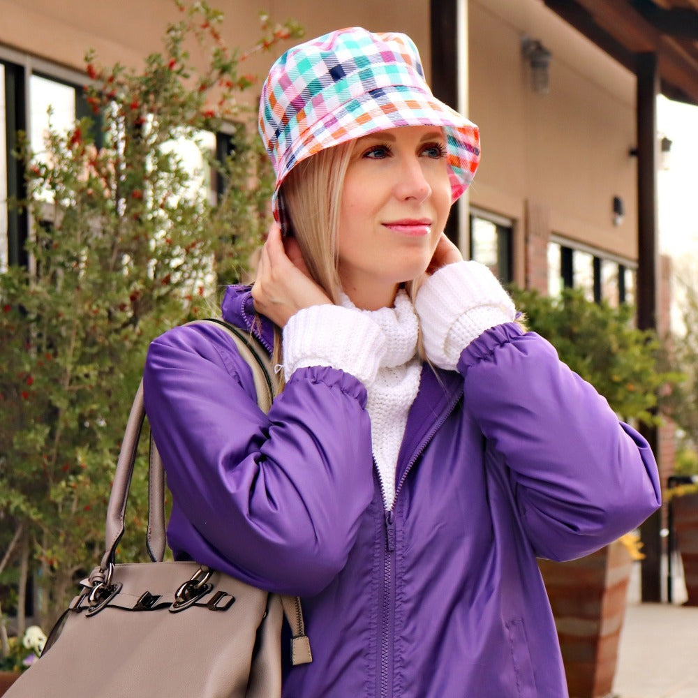 Bucket Rain Hat in Rainbow Gingham On Model with Purple Rain Slicker