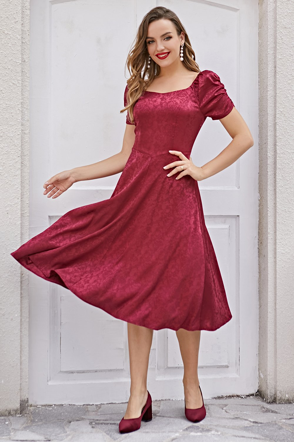 Burgundy Christmas Party Dress Short Sleeve