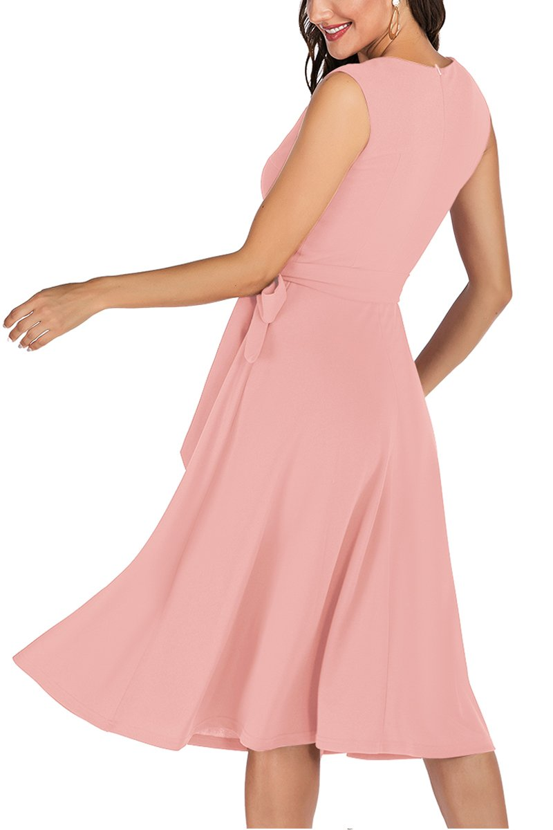 Load image into Gallery viewer, Pink V Neck Vintage Dress