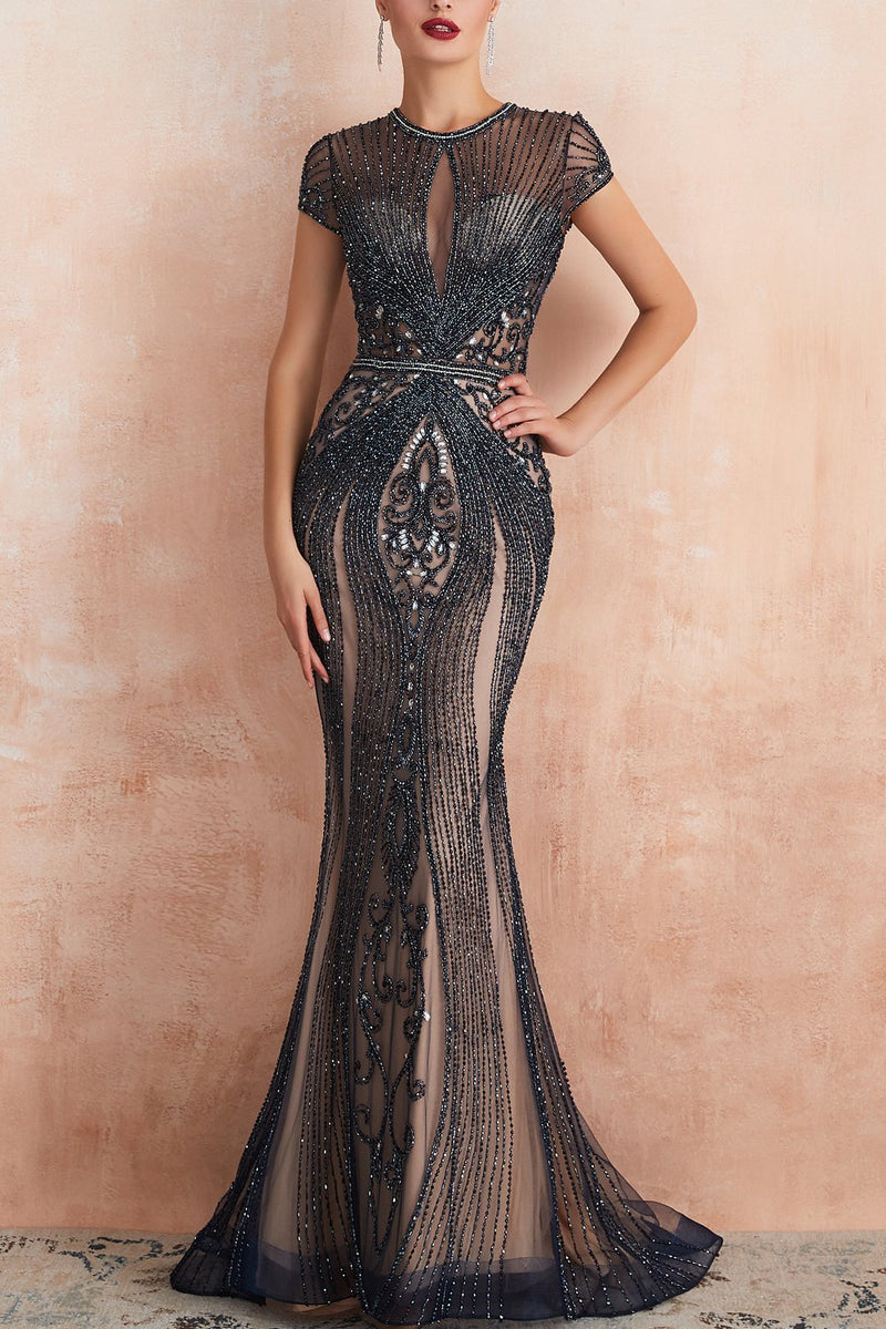 Load image into Gallery viewer, Mermaid Beaded Black Prom Dress