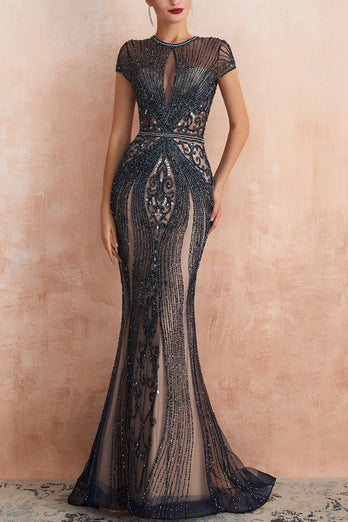 Mermaid Beaded Black Prom Dress