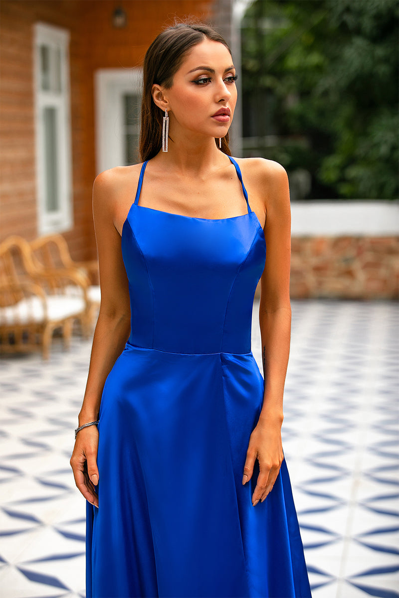 Load image into Gallery viewer, Royal Blue Backless Satin Dress