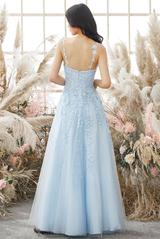 Appliques Sky Blue Tulle Prom Dress