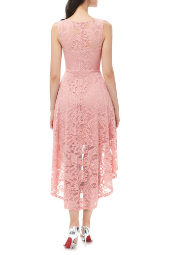 Pink High-low Lace Dress