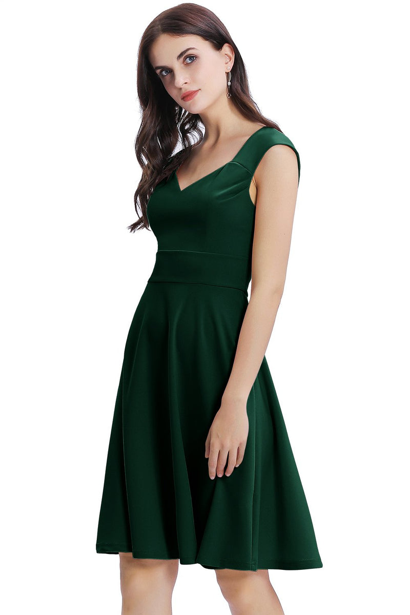 Load image into Gallery viewer, Dark Green Solid Homecoming Dress