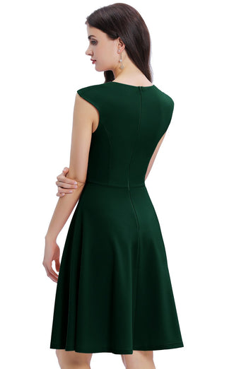 Dark Green Solid Homecoming Dress