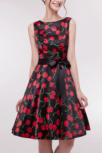 Printed Cherry Short Dress