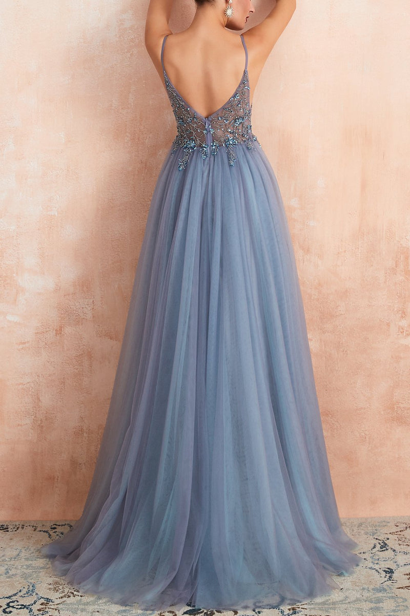 Load image into Gallery viewer, V-neck Slit Tulle Dress