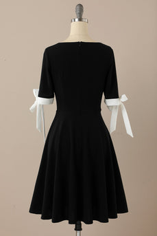 Black Retro Style 1950s Swing Dress