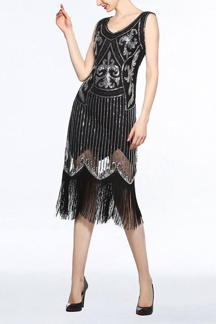 Load image into Gallery viewer, Women Black V Neck 1920s Fringe Sequin Flapper Dress