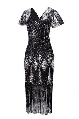 Black and Silver Flapper 1920s Sequins Dress