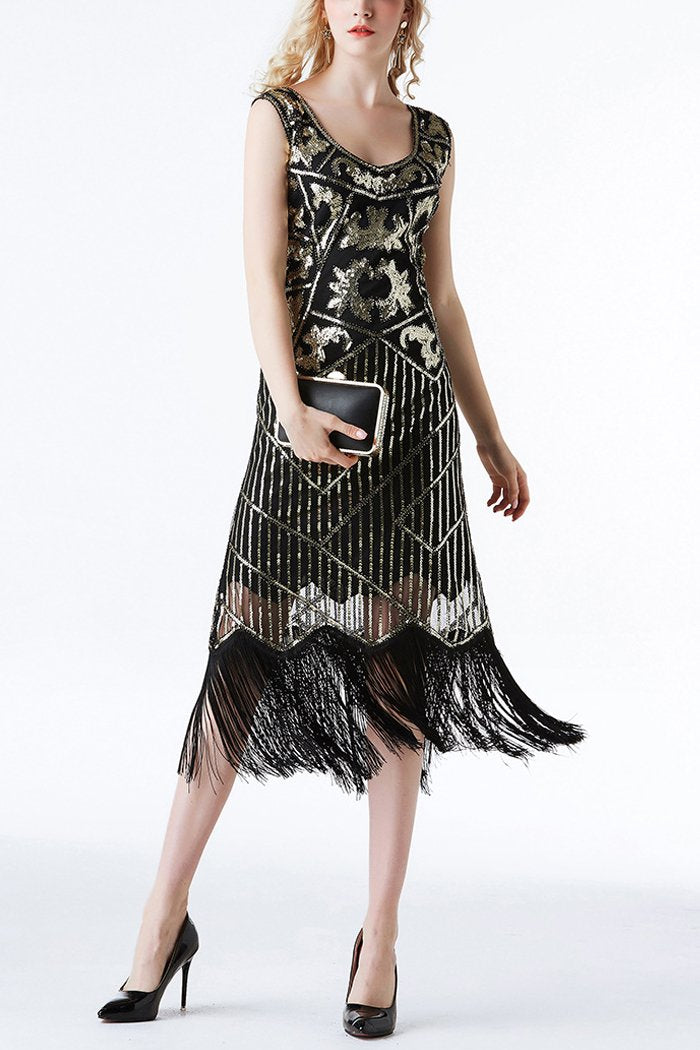 Load image into Gallery viewer, 1920s Black Sequins Flapper Tea-Length Dress