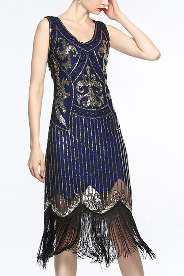 Load image into Gallery viewer, Women Navy V Neck 1920s Fringe Sequin Flapper Dress
