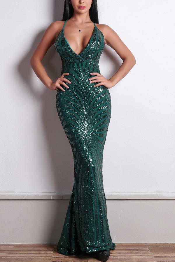 Load image into Gallery viewer, Green Mermaid Evening Dress