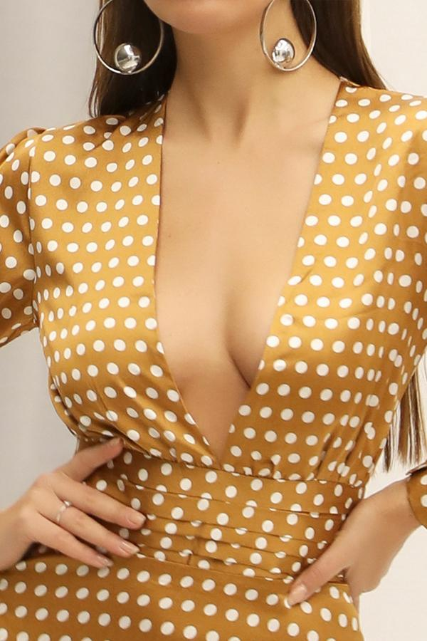 Load image into Gallery viewer, Yellow Polka Dots Long Sleeves Bohemian Dress