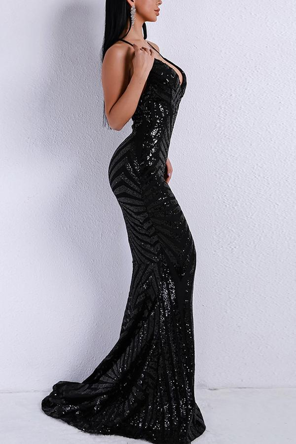 Load image into Gallery viewer, Black Mermaid Evening Dress