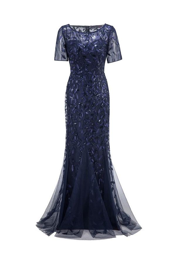 Load image into Gallery viewer, Mermaid Short Sleeves Navy Prom Evening Dress