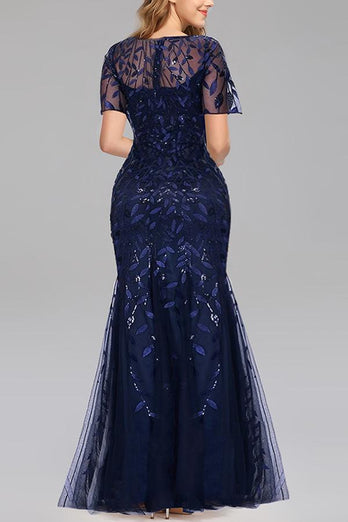 Mermaid Short Sleeves Navy Prom Evening Dress