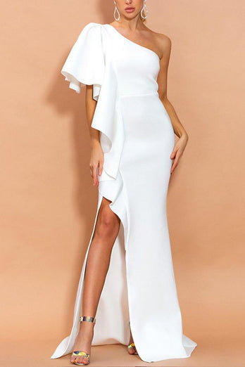 Amazing One Shoulder White Evening Party Dress