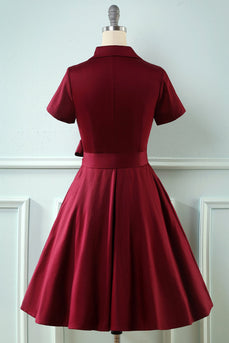 V Neck Burgundy Vintage Dress with Short Sleeves