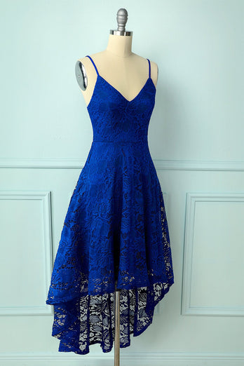 Straps Royal Blue Lace Dress