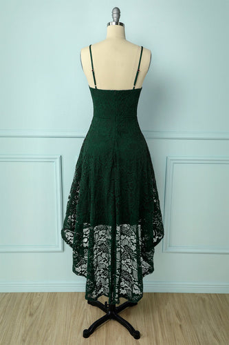 Straps Dark Green Lace Dress