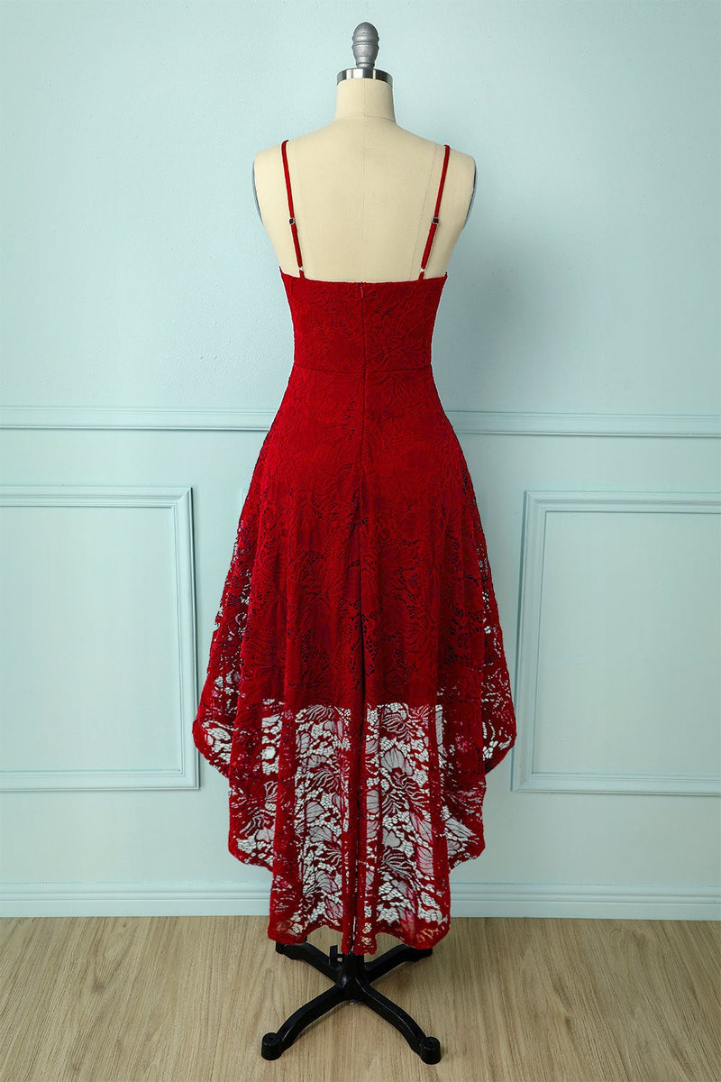 Load image into Gallery viewer, Straps Dark Red Lace Dress
