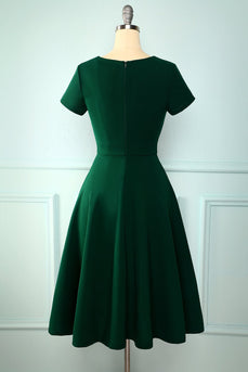Dark Green V Neck Dress