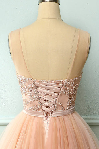 Pink Tulle Homecoming Dress