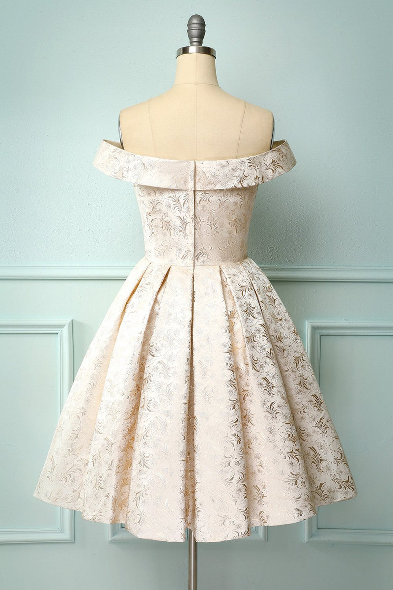 Load image into Gallery viewer, Champagne Floral Homecoming Dress