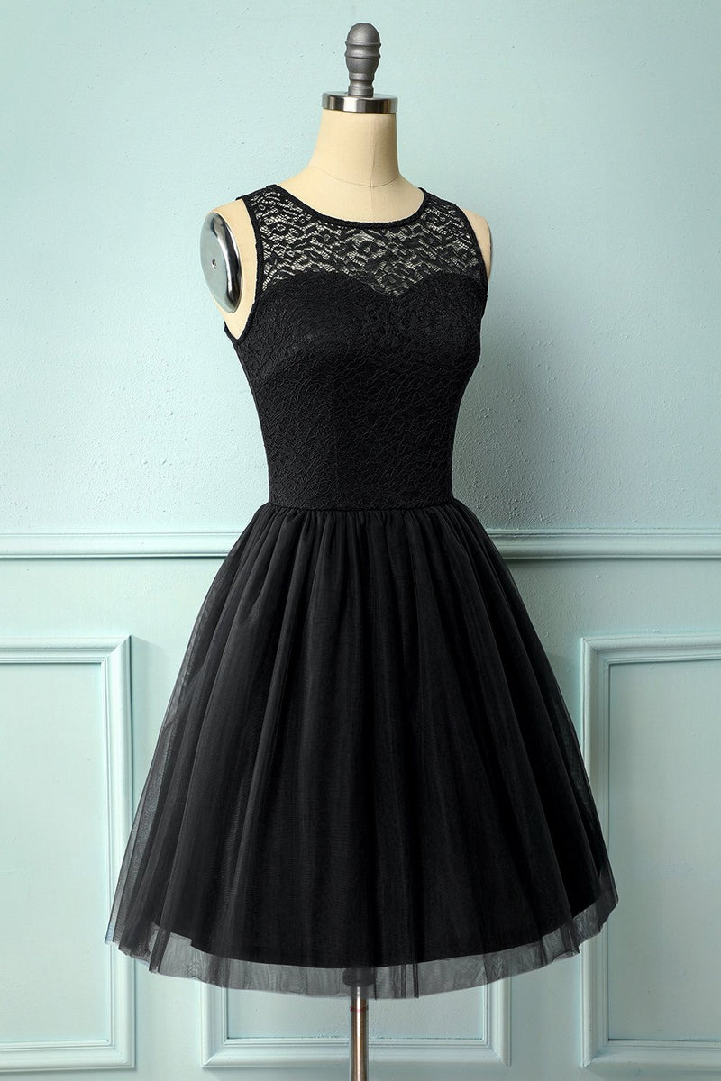 Load image into Gallery viewer, Black Lace Homecoming Dress