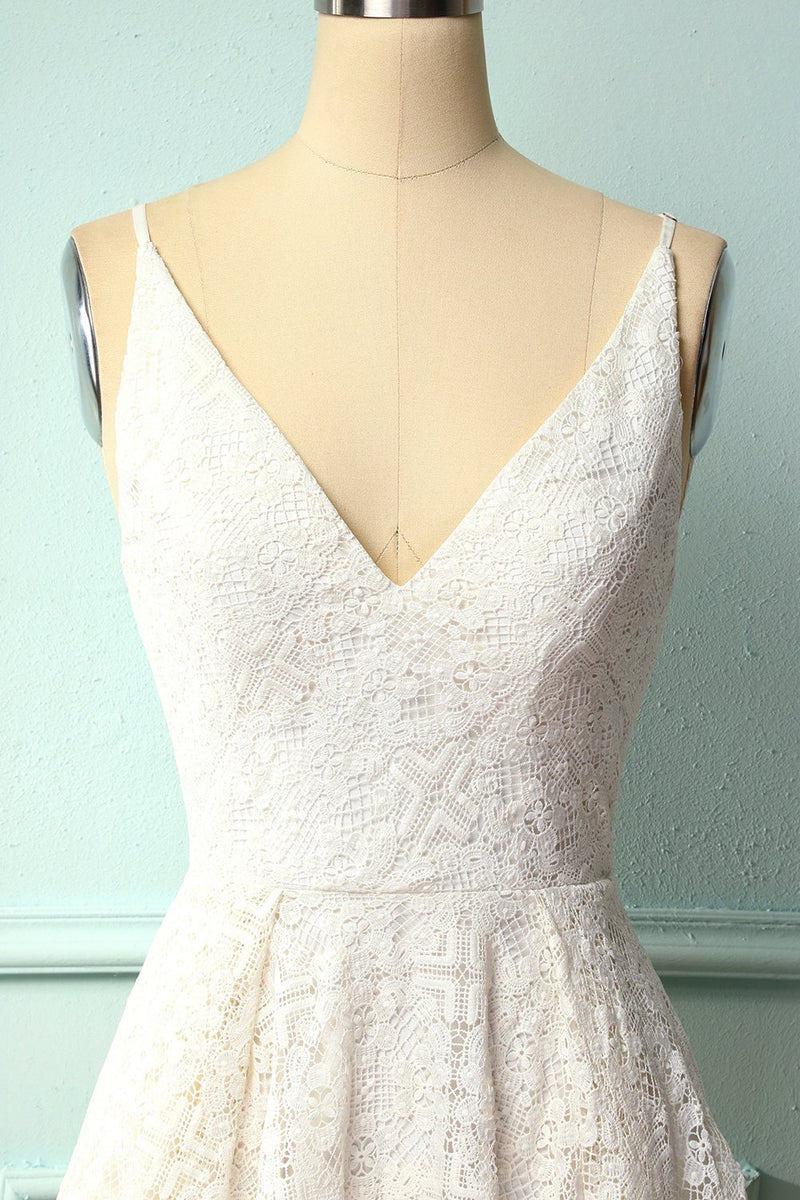 Load image into Gallery viewer, White Lace Asymmetrical Dress