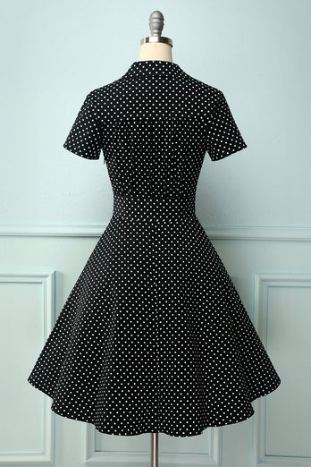 Black White Small Dots V-neck Dress