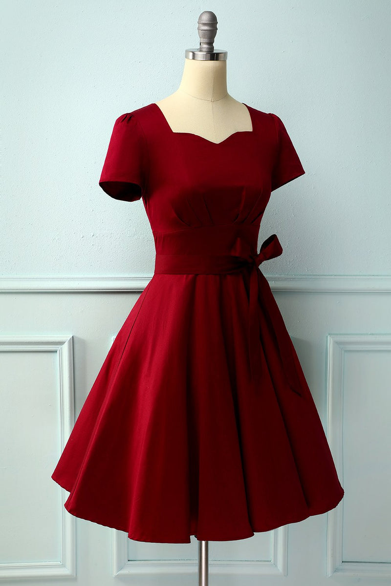 Load image into Gallery viewer, Burgundy Asymmetrical Neck Dress