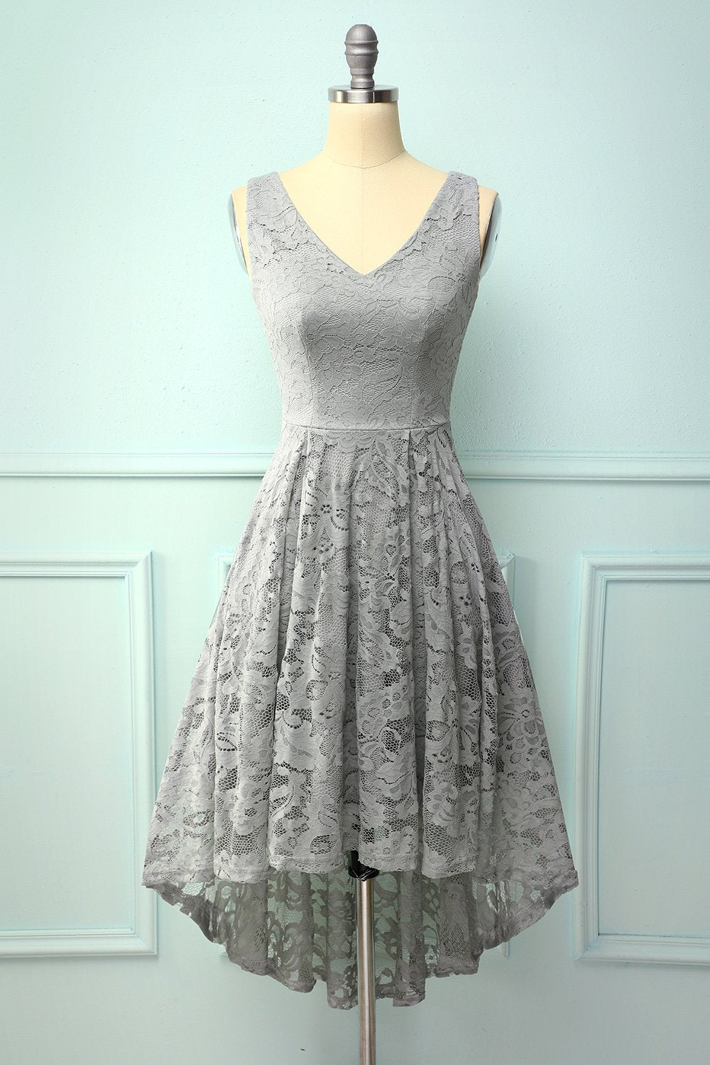 Grey Lace Asymmetrical Dress