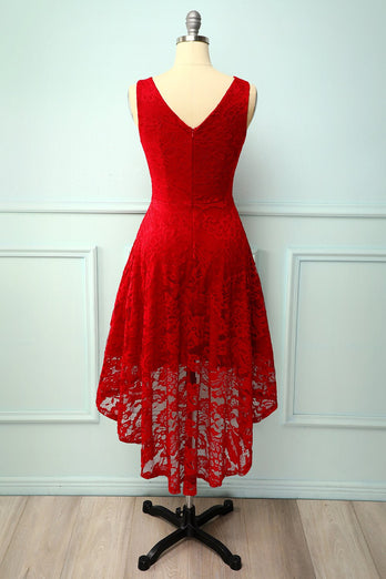 Dark Red Lace Asymmetrical Dress