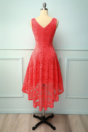 Coral Lace Asymmetrical Dress