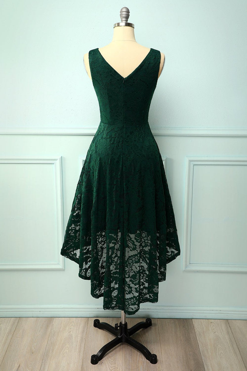 Load image into Gallery viewer, Green Lace Asymmetrical Dress