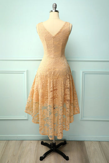 Champagne Lace Asymmetrical Dress