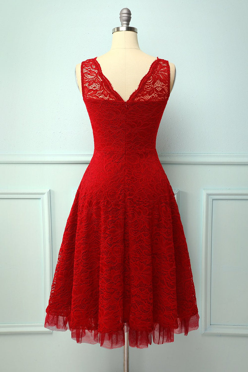 Load image into Gallery viewer, Lace Red Formal Dress