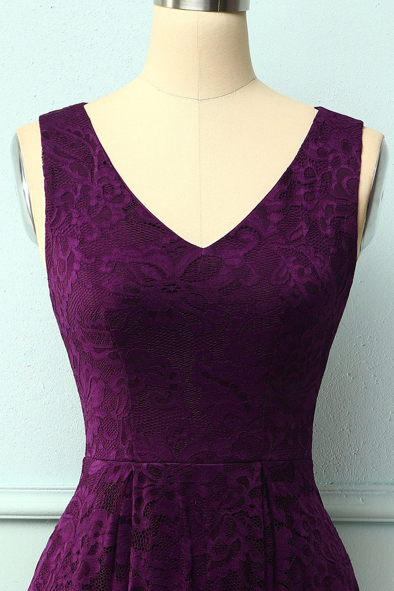 Load image into Gallery viewer, Lace Grape Asymmetrical Dress
