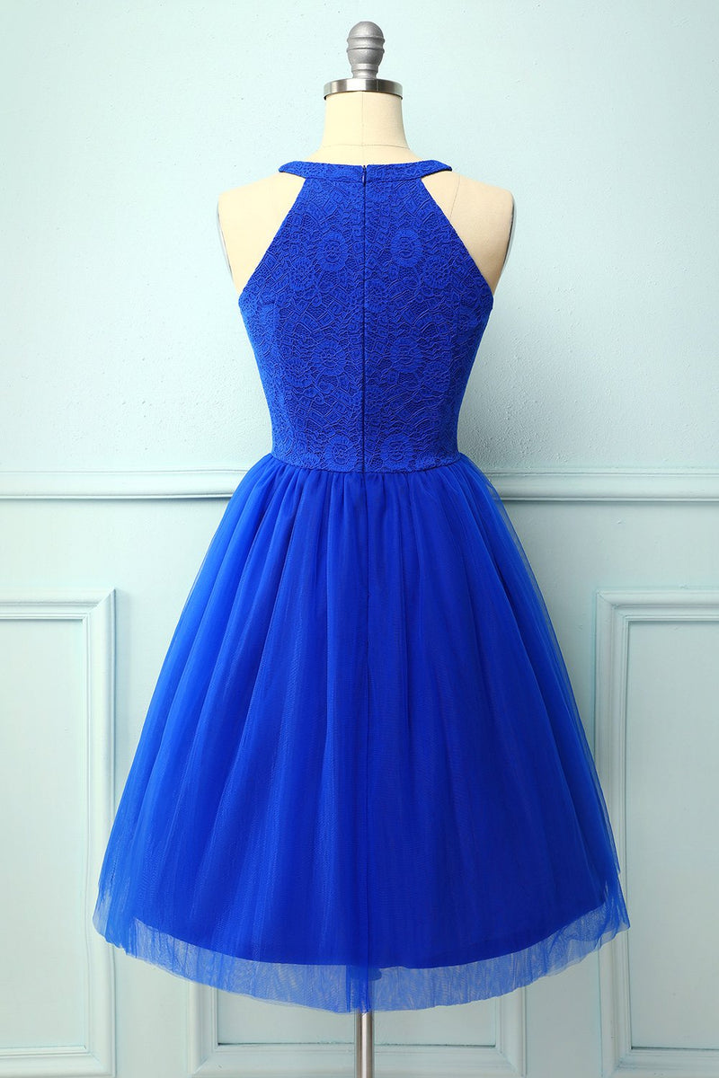 Load image into Gallery viewer, Royal Blue Halter Lace Dress