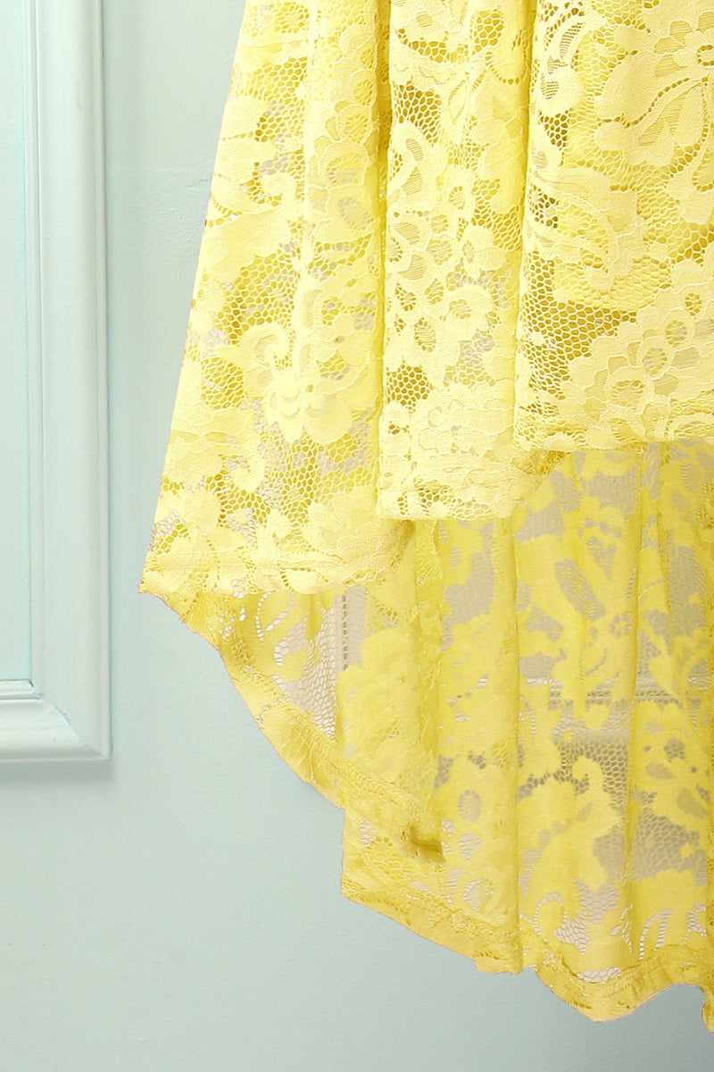 Load image into Gallery viewer, Asymmetrical Yellow Lace Dress