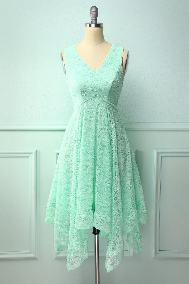 Load image into Gallery viewer, Mint Asymmetrical Lace Dress