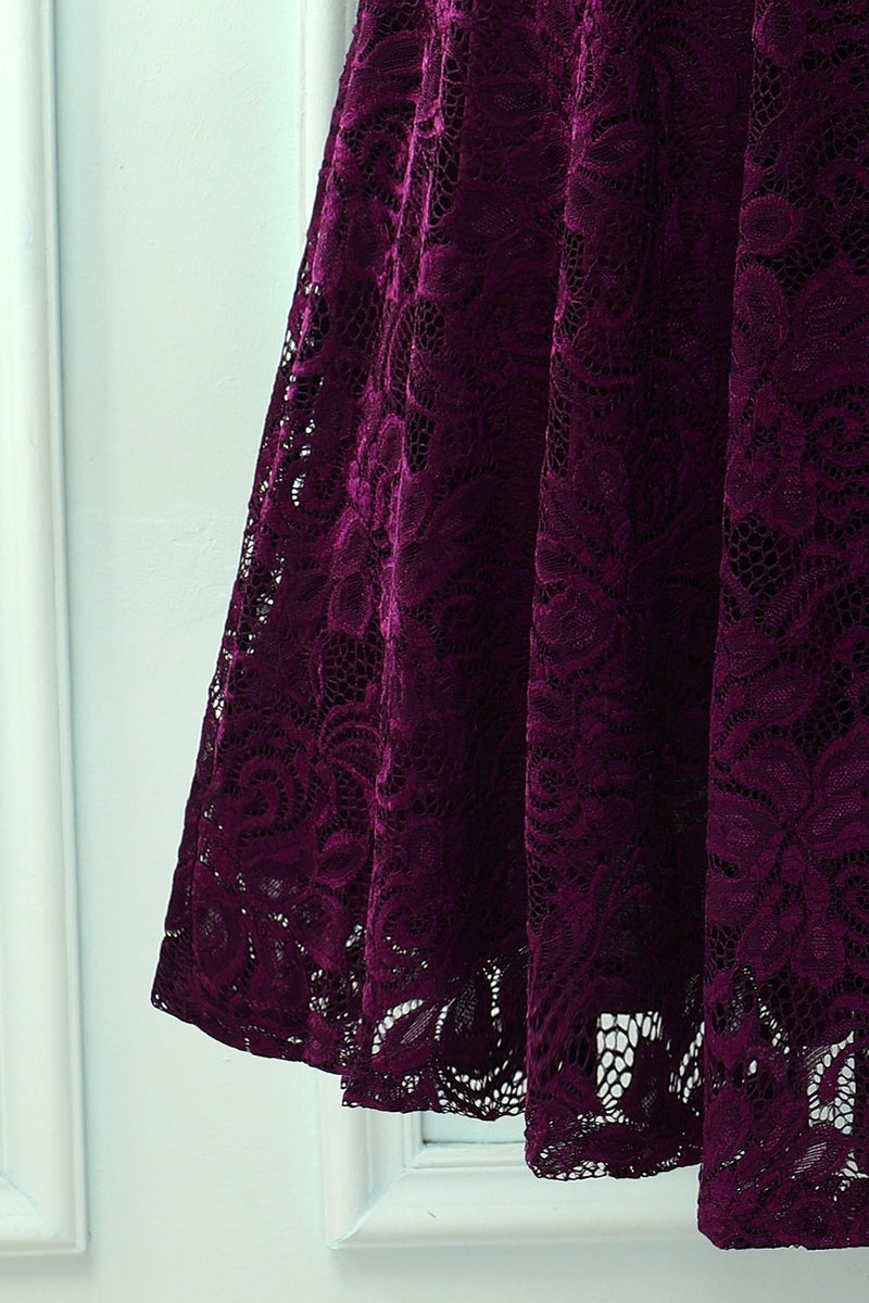 Load image into Gallery viewer, Grape V Neck Midi Lace