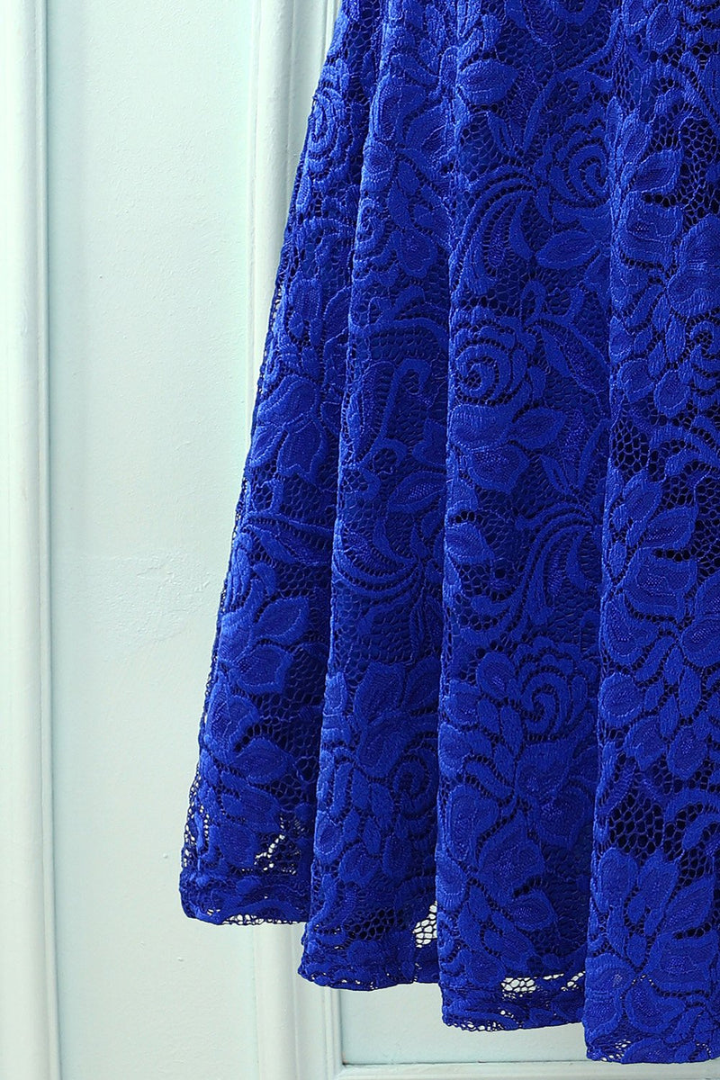 Load image into Gallery viewer, Royal Blue V Neck Midi Lace