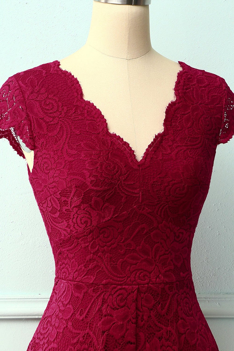 Load image into Gallery viewer, Dark Red V Neck Midi Lace Dress