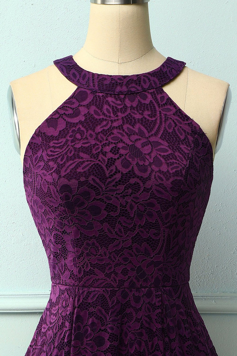 Load image into Gallery viewer, Grape Halter Lace Midi